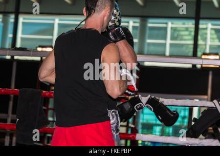 Boxer-Mann am Boxtraining im Ring mit Sparring-Partner - Stockfoto