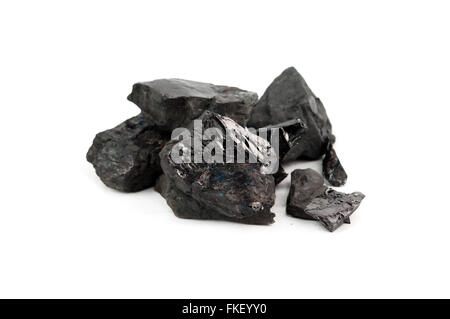 Großen Kohlebrocken isoliert auf weißem Hintergrund - Stockfoto