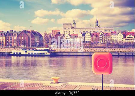 Vintage getönten Bild von Szczecin, Stadt der Odra River, Polen. - Stockfoto