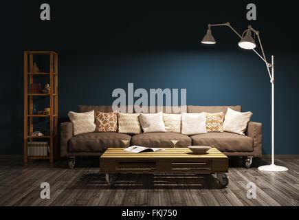 Modernes Interieur Aus Wohnzimmer Mit Navy Blue Wall, Sofa, Tisch