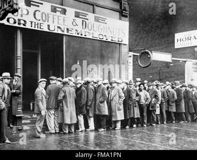 Suppenküche für Arbeitslose während der großen Depression 1930 ...