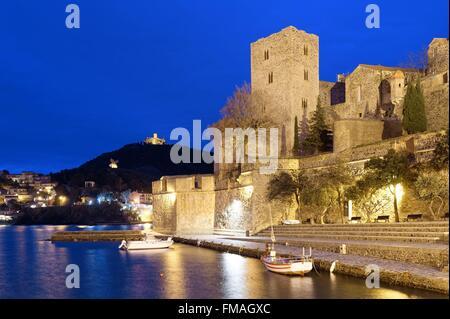 Frankreich, Pyrenäen Orientales, Collioure, die königliche Burg vom XIII Jahrhundert - Stockfoto