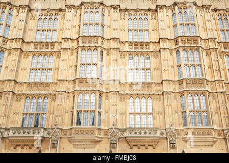 Gotische Architektur, Fassade, Palace of Westminster in London - Stockfoto