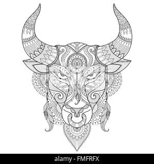 Angry Bull zum Färben von Buch, Tattoo, Logo, t-shirt-Design und andere Dekoration zeichnen - Stockfoto