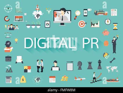 Digital PR-Vektor-Konzept mit flachen Symbole Illustration für Präsentationen und Berichte - Stockfoto