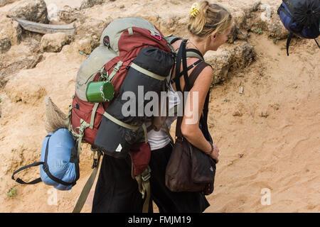 Gap Year. junge Backpacker in Anjuna Beach, Hippie, Hippie, Goa, Indien, Asien, Student, Ferienwohnung, Urlaub, - Stockfoto