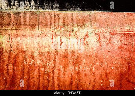 Erosion-Muster auf Rümpfe von Yachten, Antigua Slipway, English Harbour, Antigua - Stockfoto