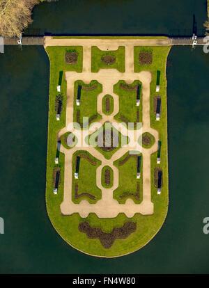 Luftaufnahme, Museum Anholt Schloss, Romantik Parkhotel Wasserburg Anholt, Burg, zurück, zurück, Niederrhein, - Stockfoto