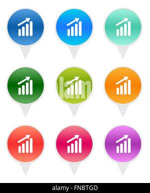 Bunte runde Symbole für Markierungen auf den Karten mit Erfolg Histogramm Symbol - Stockfoto