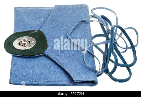 Damen blau Echtleder Stiefel mit Stickerei Stockfoto, Bild
