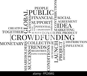 Crowdfunding typografische Wolke - Stockfoto