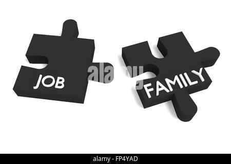 Puzzle-schwarz, Job und Familie - Stockfoto