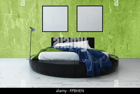Rundes bett und minimalistisch gerahmte kunstwerk im modernen loft schlafzimmer mit - Bett minimalistisch ...