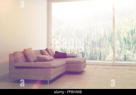 Modernes Wohnzimmer mit Blick auf einen Wald mit Wand montiert ...