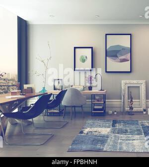 Offene Konzept Haus Büroraum mit eklektische Einrichtung im modernen Hochhaus-Wohnung mit großem Fenster und Blick - Stockfoto