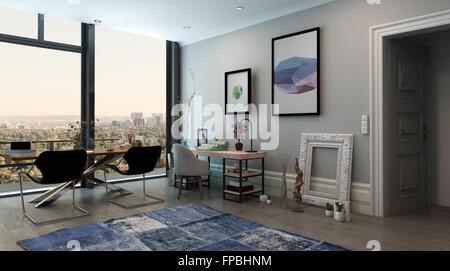 Panorama Innenraum Des Offenen Konzept Büro In Modernen High Rise Wohnung    Langer Tisch Mit