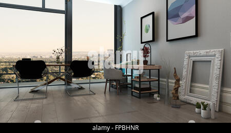 ... Panorama Innenraum Des Offenen Konzept Büro In Modernen High Rise  Wohnung   Langer Tisch Mit