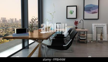 Wonderful ... Panorama Innenraum Des Offenen Konzept Büro In Modernen High Rise  Wohnung   Langer Tisch Mit