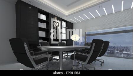 Panorama Innenraum Des Modernen Büro In Hochhaus   Langer Tisch Und Stühle  Im Sitzungssaal Mit Bücherregalen
