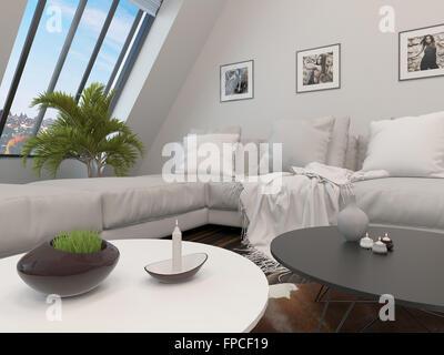 gro e komfortable wei e moderne modulare lounge suite in einem ger umigen wohnzimmer interieur. Black Bedroom Furniture Sets. Home Design Ideas