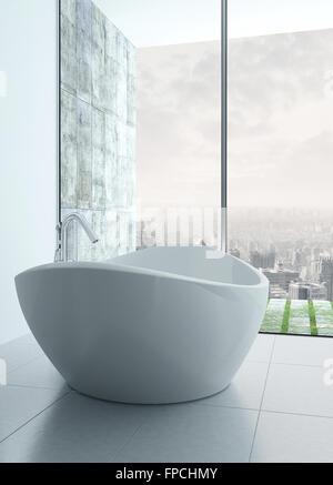 ... Freistehende Badewanne In Einem Modernen Weißen Badezimmer Interieur    Stockfoto