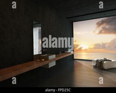 ... Modernes Badezimmer Interieur Mit Einem Wand Waschtisch, Osmanischen  Und Eine Bunte Orange Sunset Meerblick