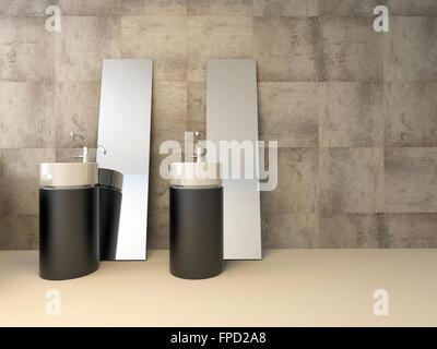 Minimalistische Luxus Badezimmer Interieur mit einer runden ...