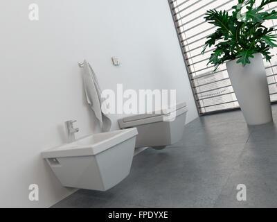 Modernes bad oder wc wc interieur mit sauberen bestätigungsbrief