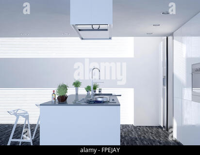 ... Kompakte Offene Helle Weiße Küche Mit Modernem Dekor Und Eine Kochinsel  Mit Barhockern, Herd Und
