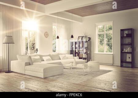 ... Modernes Loft Wohnzimmer Interieur Mit Einfarbigen Weißen Dekor, Eine  Komfortable Modulare Lounge Suite Und Teppich