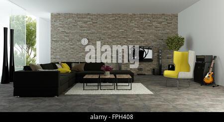 Großes Modernes Wohnzimmer Mit Strukturierten Akzent Wand Ziegel Mit  Bequemen Sofas Und Einem Gelben Sessel Vor