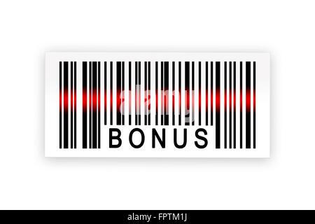 Bonus-Barcode-Etikett mit Schatten auf weißem Hintergrund - Stockfoto