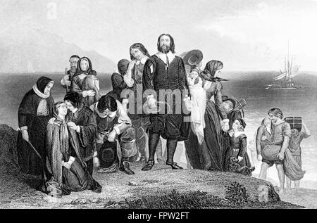 1620S ERSTE LANDUNG VON MAYFLOWER PILGER BLEI VON MYLES STANDISH 9. NOVEMBER 1620 PLYMOUTH BAY COLONY MA USA - Stockfoto