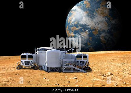 Eine künstlerische Darstellung von einer Mondbasis auf einem kargen Mond. Der Mond erdähnlichen Planeten erhebt - Stockfoto