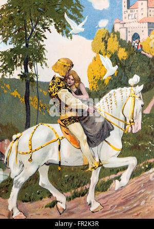 """""""Aschenbrödel"""". Illustration aus einem Märchenbuch Grimm Brothers veröffentlicht in den 1920er Jahren."""