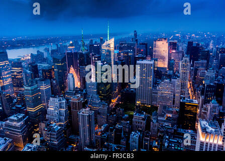 Blick Richtung Westen New York über Hudson River vom Empire State Building, New York City, USA. - Stockfoto