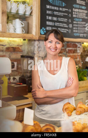 Porträt lächelnd Café-Besitzer - Stockfoto