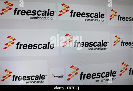 "Das Logo der Marke ""Freescale"", Berlin. - Stockfoto"