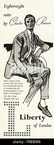 Original Vintage Anzeige aus der 1950er Jahre. Anzeige vom 1959 Werbung LIBERTY OF LONDON Herren Anzüge. - Stockfoto
