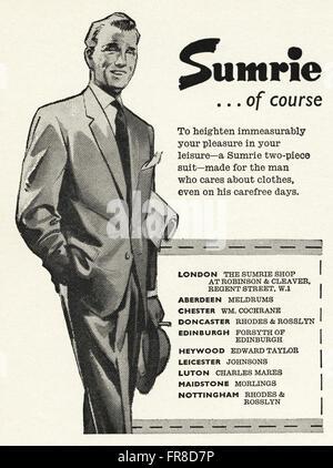 Original Vintage Anzeige aus der 1950er Jahre. Anzeige vom 1959 Werbung SUMRIE Anzüge für Männer. - Stockfoto