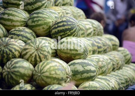 Wassermelonen zum Verkauf in Straßenmarkt - Stockfoto