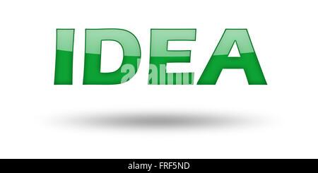 Wort-Idee mit grünen Buchstaben und Schatten. - Stockfoto