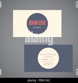 Vereinfachende flache Visitenkarte Vorlage mit großen grau und helle Punkt - Stockfoto