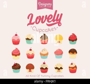 Schöne flache Cupcake-Illustrationen-Vektor-illustration - Stockfoto