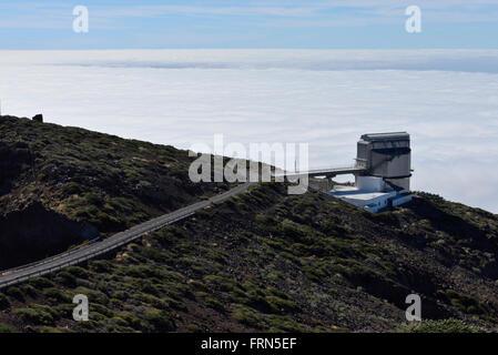 Observatario del Roque de Los Muchachos, am Rande des Parque Nacional Caldera De Taburiente, La Palma-Kanarische - Stockfoto