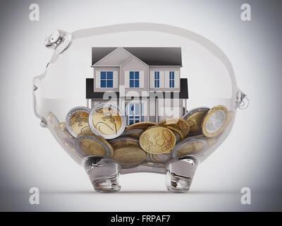 Kaufen Sie Haus mit den Einsparungen - Stockfoto