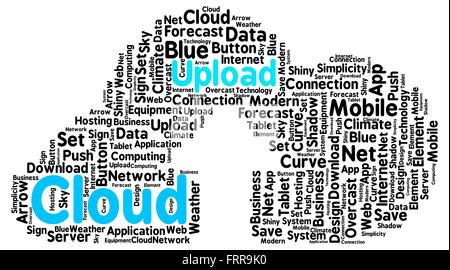Geformt wie eine echte Wolke mit einem Pfeil als Symbol der Upload auf weißen Wolke hochladen - Stockfoto