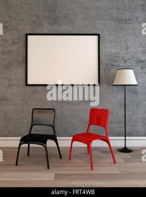 Stühle An Die Wand Hängen großen leeren schwarzen bilderrahmen stützte sich auf eine moderne
