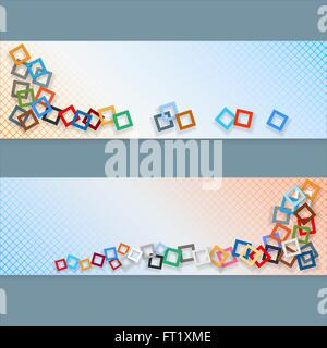 Abstrakte Grafik, Design-Web-Banner; Header-Layout-Vorlage; Reihe von Bannern mit bunten Quadraten Mosaik weiche - Stockfoto