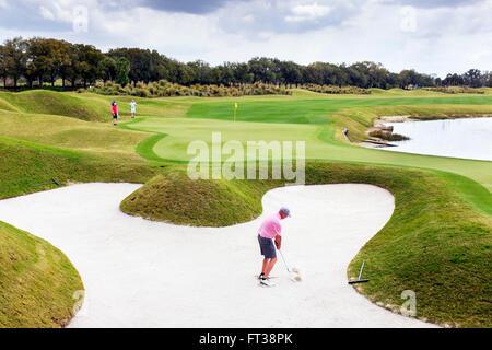 Golfspieler, der aus einem Bunker im Grand Zypern Golf Club, Orlando, USA - Stockfoto
